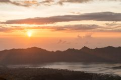 Sunrise over lake Batur Royalty Free Stock Photo