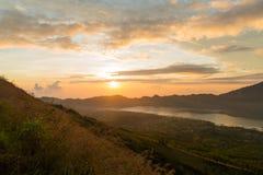 Sunrise over lake Batur Royalty Free Stock Images