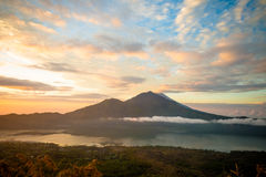 Sunrise over lake Batur Stock Image