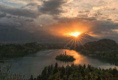 Sunrise over Lake Bled, Slovenia Stock Photography