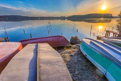 Sunrise over lake at end of winter Stock Photography