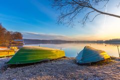 Sunrise over lake at end of winter Royalty Free Stock Images