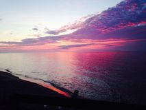 Sunrise over Lake Erie in Michigan Royalty Free Stock Photos