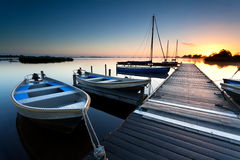 Sunrise Over Lake Harbor Stock Image