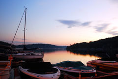 Sunrise over Lake Hopatcong, New Jersey. Early morning on the Hopatcong Lakefront in New Jersey Stock Photography