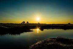 Sunrise over lake landscape. Sunrise with reflection in lake on Lincolnshire coastal marsh,landscape Royalty Free Stock Photos
