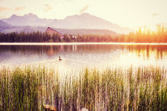 The sunrise over a lake in the park High Tatras. Royalty Free Stock Image