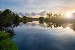 Sunrise over a lake. In Songkhla wetland Royalty Free Stock Photos