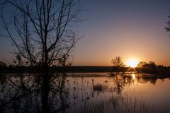 Sunrise over lake in the spring, landscape in penumbra, reflection royalty free stock photography