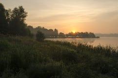 Sunrise over lake. Summer mid-morning over lake royalty free stock photos