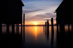 Sunrise over the lake stock photography