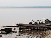 Sunrise Over Lake Superior stock photo