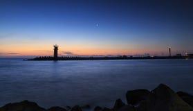 Sunrise over lighthouse,Beautiful seascape. Stock Photos