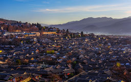 Sunrise over Lijiang old town Stock Photo