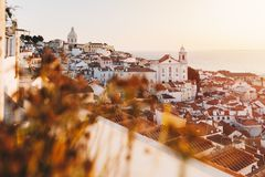 Free Sunrise Over Lisbon Old Town Alfama - Portugal. Lisbon Golden Hour Skyline. Balcony View On Alfama Old Town Of Lisbon And Tagus Stock Photo - 139554650