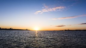 Sunrise over Liverpool River Mersey Royalty Free Stock Image