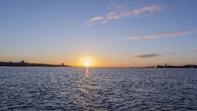 Sunrise over Liverpool River Mersey Stock Photos