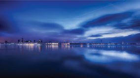 Sunrise over Liverpool River Mersey Stock Images