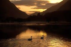 Sunrise over llyn Padarn Stock Photos