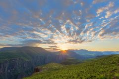 Sunrise over Maletsunyane valley. In Lesotho Royalty Free Stock Images