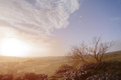 Sunrise over Malham Dale in Yorkshire Dales Royalty Free Stock Image