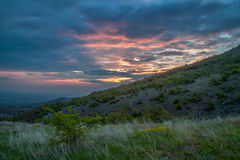 Sunrise over Markovo, Bulgaria. Red burning sunrise over the hills of Plovdiv, Bulgaria stock photos