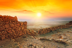 Sunrise over Masada fortress Royalty Free Stock Photos