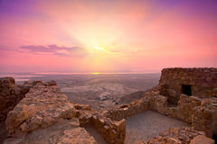 Sunrise over Masada fortress. Beautiful sunrise over Masada fortress in Judaean Desert, Israel stock photography