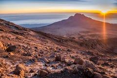 Sunrise over Mawenzi Peak, Mount Kilimanjaro, Tanzania, Africa Royalty Free Stock Photo
