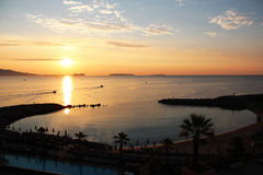 Sunrise. Over the Mediterranean sea in Cannes Royalty Free Stock Photography