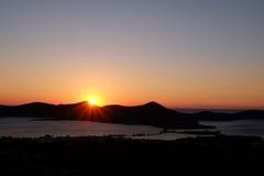 Sunrise over Mediterranean sea on island of Crete Greece Royalty Free Stock Photos