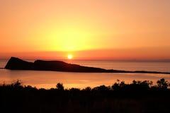 Sunrise over Mediterranean sea on island of Crete Greece Royalty Free Stock Image
