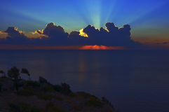 Sunrise over the Mediterranean Sea Stock Photo