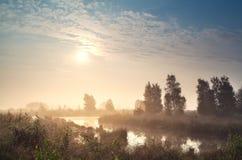 Sunrise over misty bog. Warm sunrise over misty bog, Fochteloerveen, Netherlands royalty free stock image