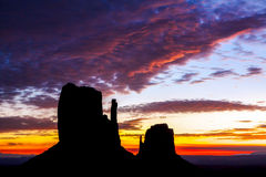 Sunrise over the Mittens in Monument Valley Royalty Free Stock Photos
