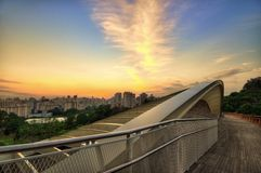 Sunrise over modern bridge Royalty Free Stock Images