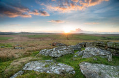 Sunrise over the Moor. Beautiful sunsrise over Bodmin Moor from Alex Tor in Cornwall royalty free stock photo