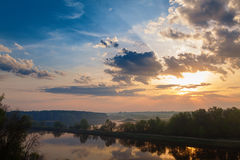 Sunrise over the Moscow Canal Royalty Free Stock Photography