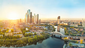 Sunrise over Moscow City. District and Moscow river Stock Photography