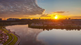 Sunrise over Moscow river stock video footage