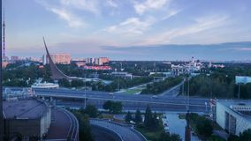Sunrise Over Moscow, Russia. View from Cosmos Hotel stock footage
