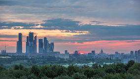 Sunrise over Moscow stock footage