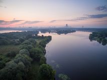 Sunrise over Moskva river Royalty Free Stock Images