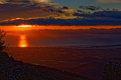 Sunrise over Motueka viewed from Mount Campbell, New Zealand stock photo