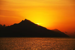 Sunrise over Mount Athos Stock Images