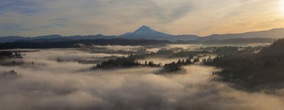 Sunrise over Mount Hood and Sandy River one Early Autumn Morning Stock Photography
