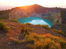 Sunrise over Mount Kelimutu Royalty Free Stock Photography