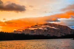 Sunrise over Mount Rundle from Two Jack Lake. Banff National Park, Alberta, Canada royalty free stock photography