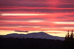 Sunrise over Mount Washington. Mount Washington New Hampshire Winter sunrise Stock Image