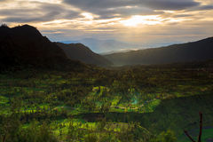 Sunrise over mountain East Java, Indonesia Royalty Free Stock Images
